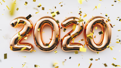 Happy New 2020 Year. Holiday copper metallic numbers 2020 and confetti on white background