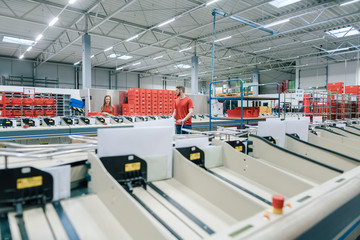 Sorting line in a mail distribution center in action