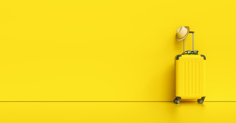 Suitcase with hat and sunglasses on yellow background. travel concept, with copy space for individual text