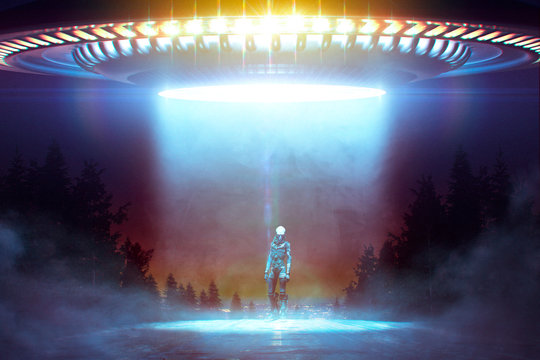 Close encounter with an Alien under a Flying saucer with ray lights on a road in the wood - 3D rendering