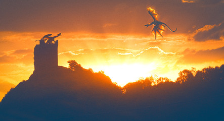 Two dragons protecting a castle in the orange sunlight - photomanipulation and 3D rendering