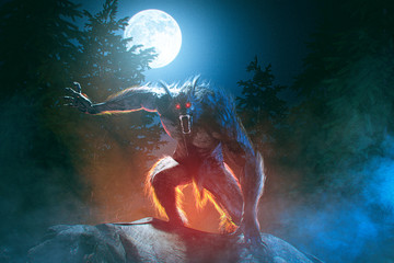 Scary Werewolf in misty moonlight night in the forest - 3D rendering