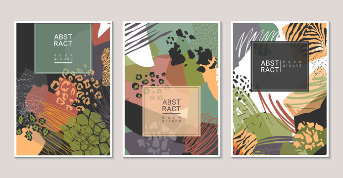 Vector collection of trendy creative collage cards with cut paper, animal skin and different textures.