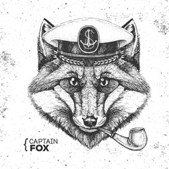 Hipster animal fox captain's cap and smoking pipe. Hand drawing Muzzle of fox