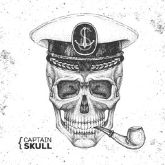 Hand drawing hipster skull with captain's cap and smoking pipe on grunge background. Hipster fashion style