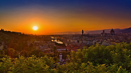 Fototapete - Huge Panorama of Firenze, Florence Italy at the End of the Summer Day