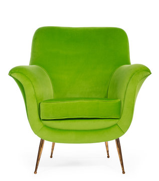 Old retro sixties style chair in bright green