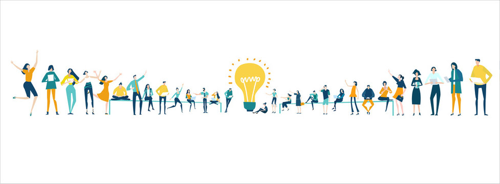 Lots of people around the big light bulb. Research, internet, big data idea, Availability of knowledge, Developing, taking a risk, support and solving the problem business concept illustration.