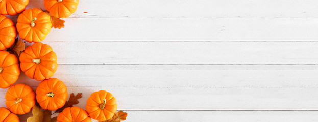 Wall Mural - Autumn pumpkin and leaf side border banner over a rustic white wood background with copy space