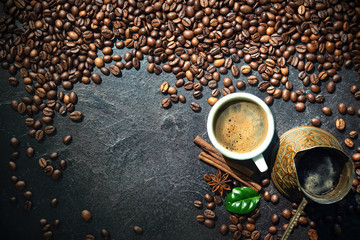 Cup of turkish coffee with coffee beans