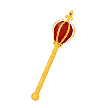 Cartoon Color Golden Royal Regal Scepter. Vector