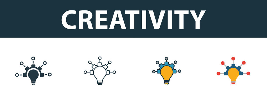 Creativity icon set. Premium symbol in different styles from productivity icons collection. Creative creativity icon filled, outline, colored and flat symbols