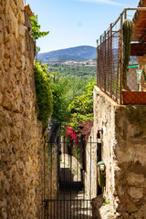 Small roads and houses in the village Campanet in the north of Mallorca