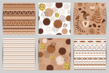 Coffee background seamless pattern set. Brown pattern with hand drawn round gold elements Fabric