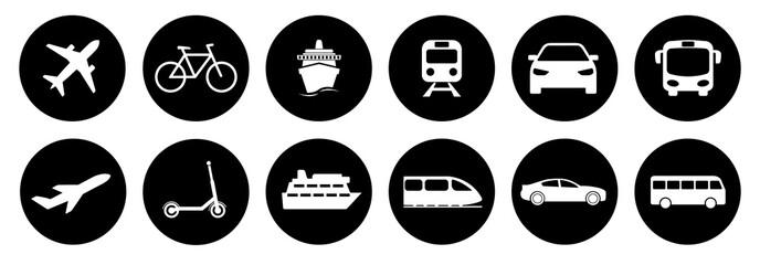 Obraz Set of standard transportation symbols in black circles - fototapety do salonu
