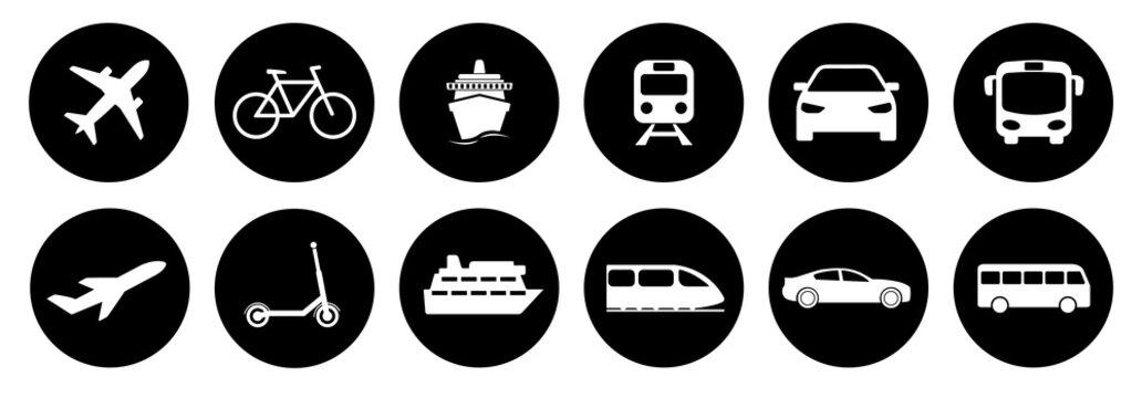 Set of standard transportation symbols in black circles