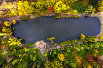 pond in the autumn city Park drone view from bird's eye view