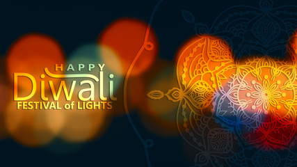 Abstract illustration mandala graphic with watercolor painting, celebration for Happy Diwali festival of light backgrounds