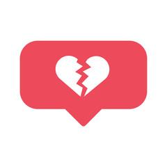broken heart social network like concept vector