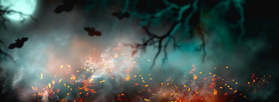 Fantasy Halloween Background. Beautiful dark deep forest backdrop with smoke, fire, vampire bats. Halloween magic holiday collage Art design, mysterious Frame. Copy space for your text. Wide screen