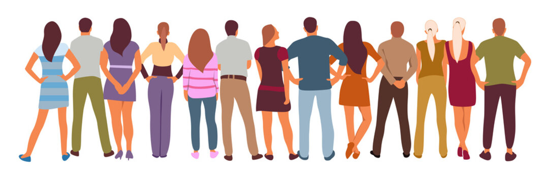 vector illustration group of back view people group, man, woman, boy and girl standing pose characters, worker and casual isolated person on white background. vector creation with flat design.