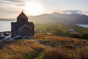 Views to Sevanavank monastery, the Lake Sevan and hills around it in Armenia Fototapete