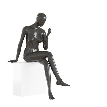A faceless female mannequin sits on a white cube on an isolated white background. 3D rendering