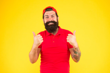 Thumbs up. Man happy cheerful face support or recommend. Guy happy emotional expression. Approve or...