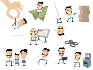funny cartoon collection of an asian business people in various situations