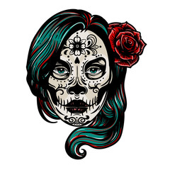 Dia De Los Muertos vintage vector colorful print with woman head with Day of Dead makeup and rose in her hair isolated on white.