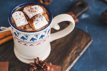 Canvas Prints Chocolate Cup of hot chocolate with marshmallows on table