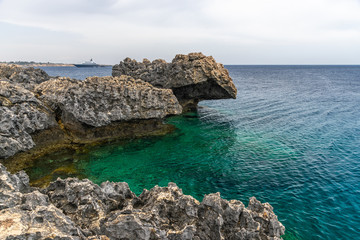The rocky coast of the Mediterranean Sea on the island of Cyprus.