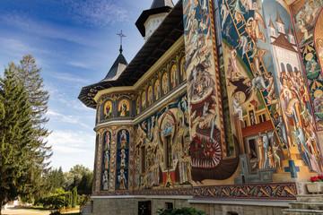 Coloured monastery in Romania, Neamt county