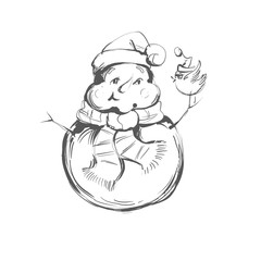 Black And White Coloring Page Outline Of A Snowman Holding little bird