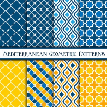 Collection of mediterranean geometric patterns