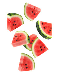 Falling watermelon isolated on white background, clipping path, full depth of field