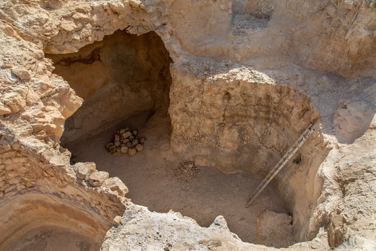 A Deep Cistern on The Plateau of Masada National Park, Israel