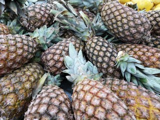 Pineapple for sale in the supermarket