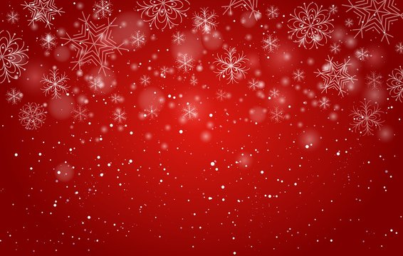 Red bokeh snowflakes background