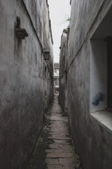Narrow alley in old town of Tongli, China