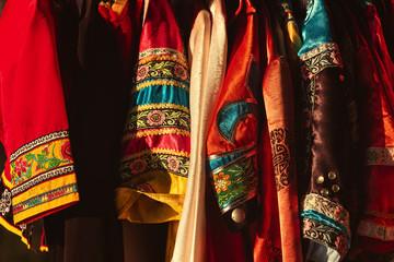 Close-up beautiful pattern on traditional Chinese national costume