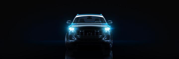 Fototapete - Sports car, studio setup, on a dark background. 3d rendering