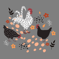 Two hens and a rooster on a gray background.