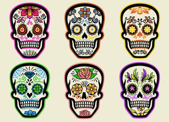 set of sugar skull collection