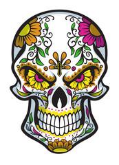 skull with dia de los muertos face painting