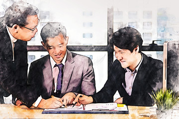 Abstract colorful business teamwork meeting in the office on watercolor illustration painting background.