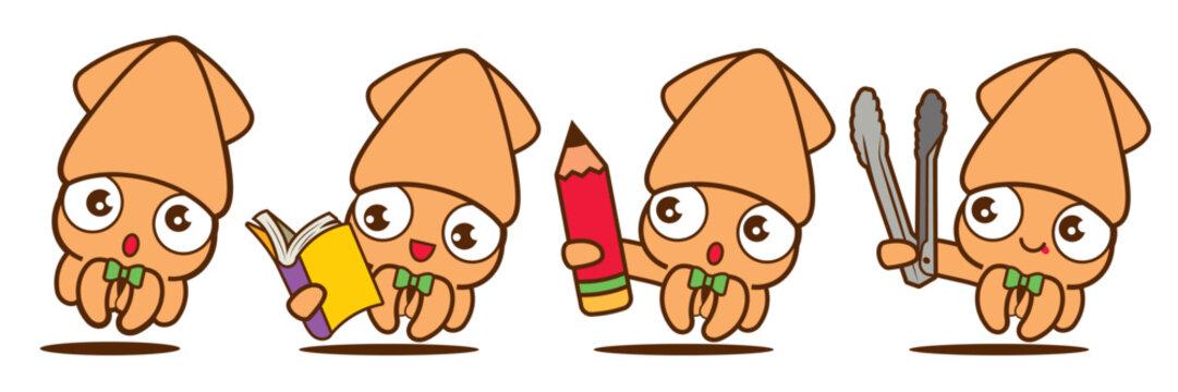 Cartoon cute squid with bowtie mascot set, cute squid holding book, pencil and bbq tong. - Vector mascot set