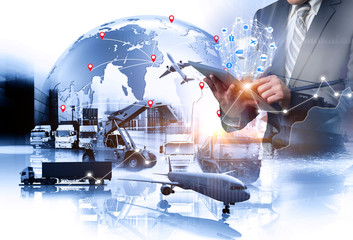 Wall Mural - Multiple exposures of Businessman touching tablet for analyze stock at logistics port and world map with logistic network distribution on background, transportation trading business concept