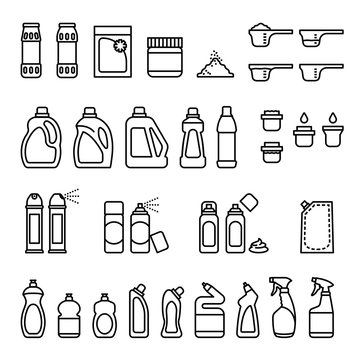 Detergents. Chemicals for cleaning and disinfection bottles icons with white background. Thin Line Style stock vector.