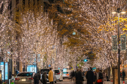 Tokyo Marunouchi winter illumination festival, famous romantic light up events in the city, beautiful view, popular tourist attractions, travel destinations for holiday, Japan